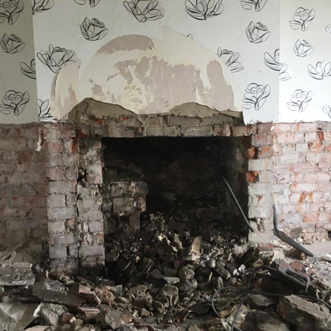 damp fireplace job